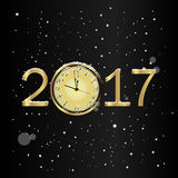 Vector 2017 Happy New Year background with gold clock and snow. Vector 2017 Happy New Year black background with gold clock and snow Royalty Free Stock Photo