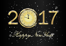 Vector 2017 Happy New Year background with gold clock and snow. Vector 2017 Happy New Year black background with gold clock and snow Stock Photo