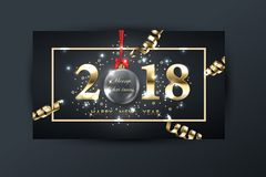 2018 vector happy New year background with gold serpentine. With glass transparent Christmas ball. Happy New Year greeting card. Vector drawing royalty free illustration