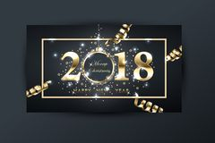 2018 vector happy New year background with gold serpentine. Happy New Year greeting card. Vector drawing. 2018 vector happy New year background with gold Stock Photos