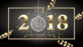 2018 vector happy New year background with gold serpentine, with hand drawn Christmas ball. Happy New Year greeting card. Vector drawing Stock Photo