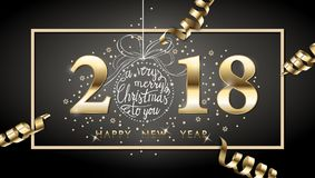 2018 vector happy New year background with gold serpentine,. With hand drawn Christmas ball. Happy New Year greeting card. Vector drawing Royalty Free Stock Image
