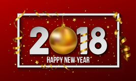 Vector 2018 Happy New Year background with golden christmas ball bauble. Happy New Year background vector illustration with gold confetti and ribbons, golden Stock Illustration