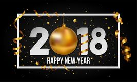 Vector 2018 Happy New Year background with golden christmas ball bauble and stripes elements. Happy New Year background vector illustration with gold confetti Stock Illustration