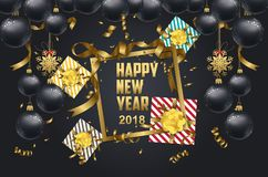 Vector 2018 Happy New Year background with golden gift bow.  Royalty Free Stock Photo