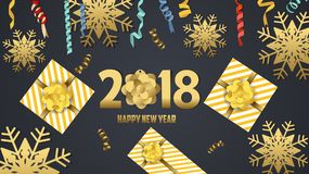 Vector 2018 Happy New Year background with golden gift bow.  Royalty Free Stock Photography