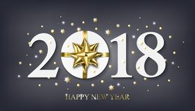 Vector 2018 Happy New Year background with golden gift with bow Stock Photography