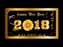 Vector 2018 Happy New Year background with golden gift bow i. Nside of golden frame decorated with confetti, tinsel and beads. Vector illustration, template Stock Image
