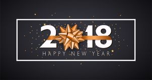 Vector 2018 Happy New Year background with golden gift bow. 2018 Happy New Year background with golden gift bow.Illustration Stock Images