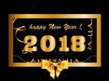 Vector 2018 Happy New Year background with golden gift bow insid. E of golden frame decorated with confetti, tinsel and beads. Vector illustration, template Stock Photo