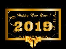 Vector 2019 Happy New Year background with golden gift bow inside of gold border. Vector 2019 Happy New Year background with golden gift bow inside of golden stock illustration
