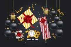 Vector 2018 Happy New Year background with golden gift bow.  Stock Images