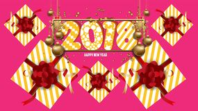 Vector 2018 Happy New Year background with golden gift bow.  Stock Photography