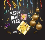 Vector 2018 Happy New Year background with golden gift bow.  Stock Photo