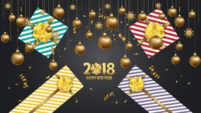 Vector 2018 Happy New Year background with golden gift bow.  Stock Image