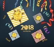 Vector 2018 Happy New Year background with golden gift bow.  Stock Photos