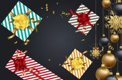 Vector 2018 Happy New Year background with golden gift bow.  Royalty Free Stock Images