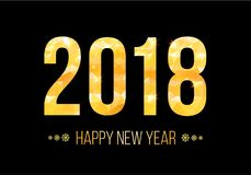 Vector 2018 Happy New Year Background. Golden numbers with confetti on black background. Stock Images