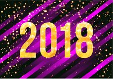 Vector 2018 Happy New Year Background. Golden numbers with confetti on black background. Stock Photo