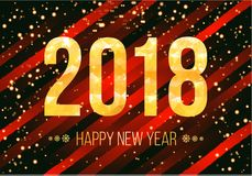 Vector 2018 Happy New Year Background. Golden numbers with confetti on black background. Stock Photos