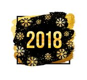 Vector 2018 Happy New Year Background. Golden numbers with confetti on black background. 2018 Happy New Year Background. Golden numbers with confetti on black Stock Image