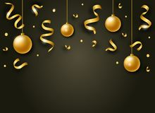 Vector Happy New Year background with golden shiny ribbons, balls and confetti. Vector colorful Happy New Year background with golden shiny ribbons, balls and royalty free illustration