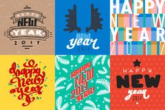 Vector 2017 Happy New Year background greeting holiday flayer brochure layout card design illustration. Decoration christmas banner for winter party Stock Image