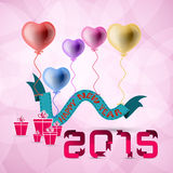 Vector 2015 Happy New Year background with heart balloon. 