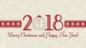 Vector 2018 Happy New Year background. Merry Christmas and Happy Holidays web banner, text label with snowflakes, winter theme doo. Greeting card template, flat Stock Photos