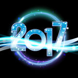 Vector 2017 Happy New Year background with neon light.  Stock Image