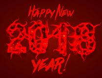 Vector Happy New 2018 Year background. 2018 numbers with red flames. Wavy fire flames around numbers. Happy New Year Royalty Free Stock Photos