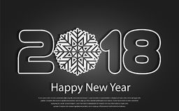 Vector Happy New Year 2017 background with paper cuttings. Happy New Year 2018 background with paper cuttings. Numbers 1, 2, 8 and snowflake cut from paper for Royalty Free Stock Photo