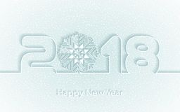Vector Happy New Year 2017 background with paper cuttings. Happy New Year 2018 background with paper cuttings. Numbers 1, 2, 8 and snowflake cut from paper for Royalty Free Stock Photography