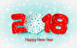 Vector Happy New Year 2017 background with paper cuttings Royalty Free Stock Photo