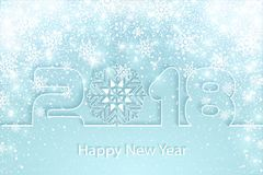 Vector Happy New Year 2017 background with paper cuttings. Happy New Year 2018 background with paper cuttings. Numbers 1, 2, 8 and snowflake cut from paper for Stock Photos