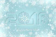 Vector Happy New Year 2017 background with paper cuttings. Happy New Year 2018 background with paper cuttings. Numbers 1, 2, 8 and snowflake cut from paper for Royalty Free Stock Images
