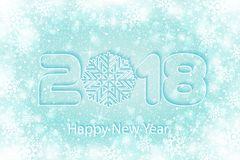 Vector Happy New Year 2017 background with paper cuttings. Happy New Year 2018 background with paper cuttings. Numbers 1, 2, 8 and snowflake cut from paper for Royalty Free Stock Image