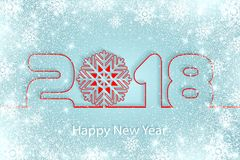 Vector Happy New Year 2017 background with paper cuttings. Happy New Year 2018 background with paper cuttings. Numbers 1, 2, 8 and snowflake cut from paper for Stock Image