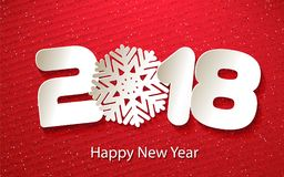 Vector Happy New Year 2018 background with paper cuttings. Happy New Year 2018. Numbers and snowflake cut from paper for holiday greeting card, invitation Stock Images