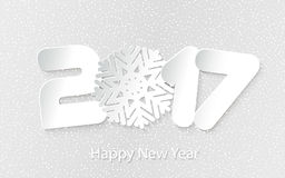 Vector Happy New Year 2017 background with paper cuttings. Happy New Year 2017. Numbers and snowflake cut from paper. Vector Illustration Royalty Free Stock Photography
