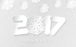 Vector Happy New Year 2017 background with paper cuttings. Happy New Year 2017. Numbers and snowflake cut from paper. Vector Illustration Stock Photography