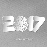 Vector Happy New Year 2017 background with paper cuttings. Happy New Year 2017. Numbers and snowflake cut from paper. Vector Illustration Royalty Free Stock Photos