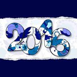 Vector 2016 happy new year background with patch and torn paper. Illustration Stock Images