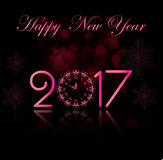 Vector 2017 Happy New Year background with pink clock. Vector 2017 Happy New Year background with clock Royalty Free Stock Photography