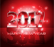 Vector 2017 Happy New Year background red letters. Vector 2017 Happy New Year lights background red letters Stock Image