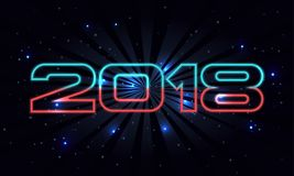 Vector 2018 Happy New Year background with retro font on space background. With stars and lighting effects stock illustration
