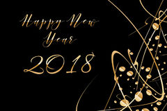 Vector Happy New year 2018 background with shiny drops and glitter on black Stock Photography