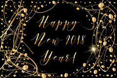 Vector Happy New year 2018 background with shiny drops and glitter on black Royalty Free Stock Photos