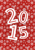 Vector 2015 Happy New Year background with. Snowflakes on red stock vector Royalty Free Stock Photo