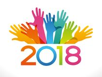 Vector 2018 Happy New Year background. a. Vector 2018 Happy New Year background. Color design with numeral 2018, people`s hands. The file is saved in the version vector illustration